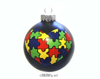 Autism Heart Ornament MADE TO ORDER Puzzle Pieces Hand Painted Glass Glass Bauble Autism Awareness Autism Mom