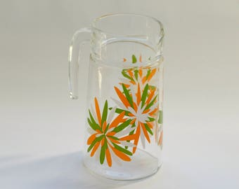 Beautiful Vintage Glass Floral Jug Pitcher