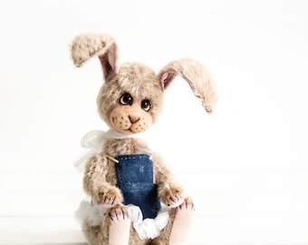 Little Teddy bunny Jenny - OOAK Teddy bear - Easter gift - Collectible bunny bear - Mohair teddy rabbit