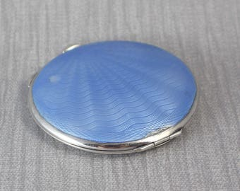 Beautiful Guilloche Blue Enamel Hallmarked Sterling Silver Ladies Compact  Dates 1947 by Broadway & co