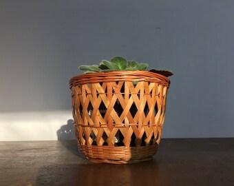Mid century planter, woven basket, paper bin, Plant holder, storage