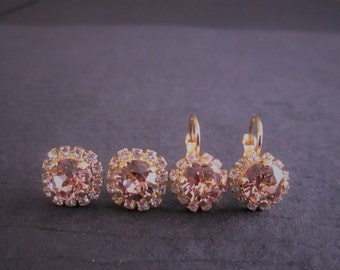 Vintage Rose Bridesmaid Earrings/Blush Bridesmaid Earrings/Pink Swarovski Crystal Halo Earrings/Vintage Rose Crystal Studs/Pink Wedding