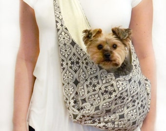 LARGE Grey and Ivory Medallion Dog Sling/ Pet Pouch/ Pet Carrier: Gray Skies Medallion