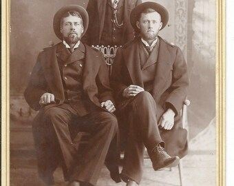 Antique Old 1900's Cabinet Photograph of 3 Men in Hats