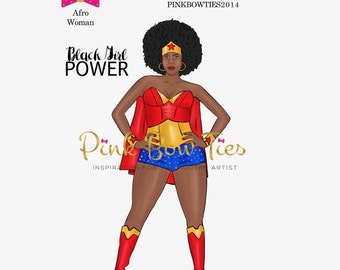 Afro Woman for Erin Condren, Happy Planner, Kate Spade and Traveler's Notebooks