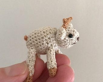 A Micro Goat called Gerald. Miniature Amigurumi Handmade Crochet. MADE TO ORDER