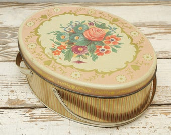 Pink Oval Tin with Roses Handles