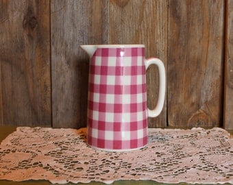 Pink Plaid Pitcher Staffordshire Crown Burslem Made in England Gingham Serving Housewares Vintage 1980s 80s (A)