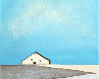 Barn Painting, Farm Painting, Landscape painting, Old Barn, White Barn, Minimalist Barn, Farmhouse Art Abstract landscape painting, Barn Art
