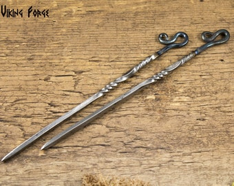 Pair of Hand Forged Shepherds Hook Twisted Thin Food Pick/Poke Hair Ornaments  ...id 0117-04