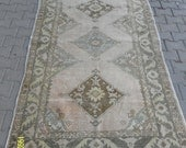 Vintage Turkish Oushak Muted Boho Pastel Rug - 91 in x 52 in