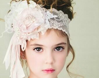 "The ""Pink Powder Rooom"" Pink Flower headband Soft light pink and ivory Handmade Flower crystsls silk rosette pearl"
