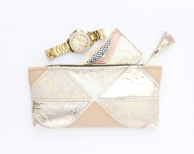 Natural leather pouch-small purse-zipper pouch-geometric clutch-make up brush case-mixed metallics-sand gold beige nude /MINI PRISM 39