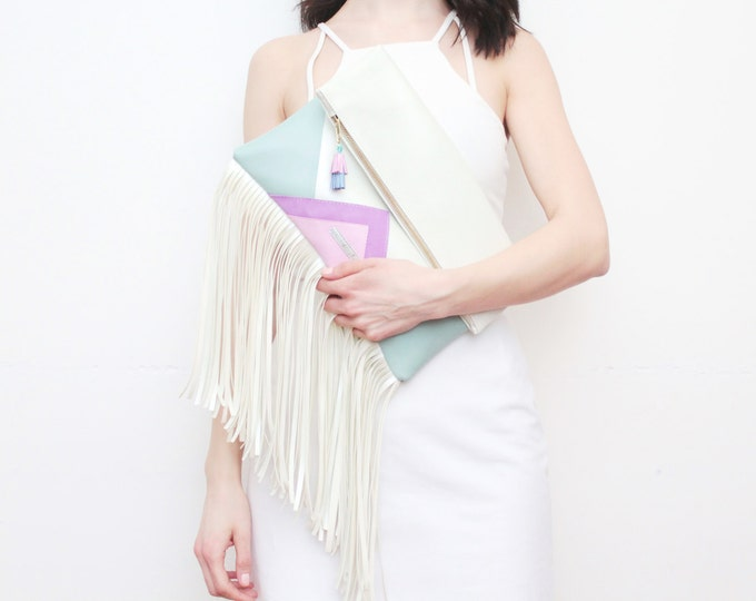 CARRIER 7 / Large leather purse- fringe clutch bag-bohemian purse-white oversized leather bag-mint pastel pink purple bag-Ready to Ship
