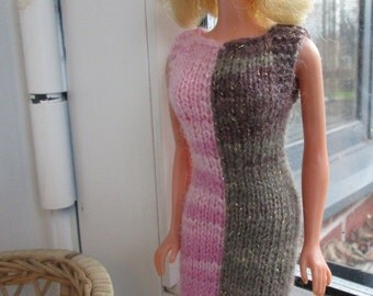 Barbie clothes - two-colour pink and grey/green sparkly dress