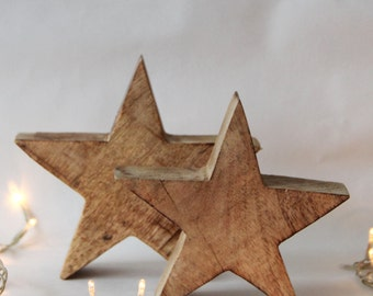 Chunky Wooden Stars - Large or Small - Handmade Mango Wood Chunky Lodge Star - Christmas Decor