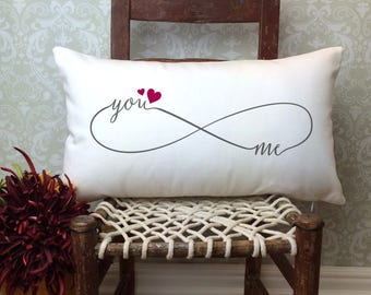 You and Me Forever Pillow, Infinity Symbol Pillow, Valentines Day Pillow, Decorative Pillow, Wedding Gift, Home Decor, Valentines Day Gift