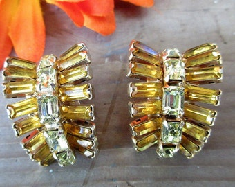 Beautiful Gold and Rhinestone Clip Earrings/Elegant Amber and Gold Earrings/Vintage Elegant Evening Earrings
