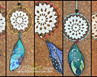 Hand Made Dream Catchers with powerful and inspirational words to encourage and support big dreams and tiny wishes FREE SHIPPING worth dream