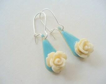 Pretty Ivory Rose Dangle Earrings, Blue Enamel Earrings, Shiny Silver, Womens Jewelry, Drop Earrings