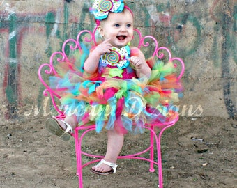 Sweet Candy Couture Birthday Tutu Dress & Headband. BIRTHDAY TUTU