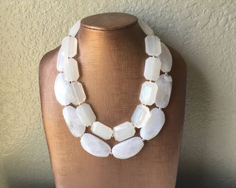 White Necklace, multi strand jewelry, big beaded chunky statement necklace, white necklace, bridesmaid necklace, bib necklace, white