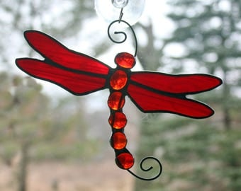 Stained Glass Dragonfly Suncatcher, Red Iridescent, Glass Art