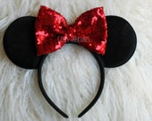 Red Bow Mouse Ears Headband.  Minnie Mouse Headband. Womens Headband. Teen Headband. Mouse Headband. Disney Headband. One Size Fits Most.