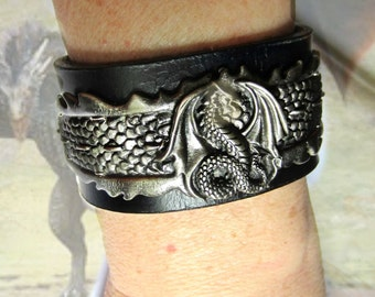Leather and Pewter Dragon Cuff, Black Leather Cuff