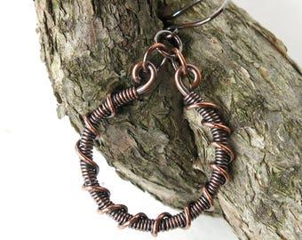 Copper hoop earrings - wire wrapped handmade jewelry