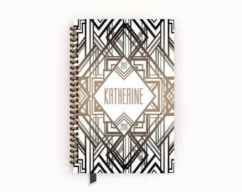 Personalized Planner 2017 - 2018 Calendar Agenda with Taupe and White Art Deco Cover