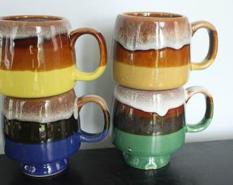 Set of 4 - Vintage 1960's-70's Stacking drip glaze Stoneware Mugs /Colorful stoneware drip glaze Mug Set/vintage stacking mugs