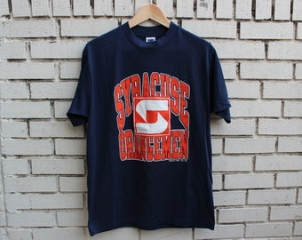 Deadstock SYRACUSE ORANGEMEN Shirt Size L Large Trench tag 100% cotton vtg college vintage university su collegiate sweater all over print