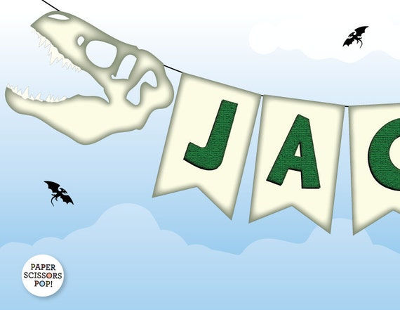 Dinosaur Banner, T Rex Jurrasic Park Party Boys Birthday Party Decor ...