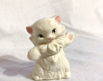 Shall We Dance? Dancing Cat White 1980s Kitschy Collectable Kitty Figurine