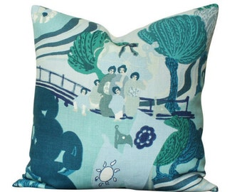 Schumacher Pearl River Pillow Cover in Blue