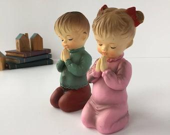 Praying Children Figurines, Vintage Praying Boy and Girl, Angelic Children Bisque Figurines, Kneeling Kids in Pajamas, Nursery Decor