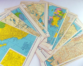 Vintage Maps - Paper Scrap Pack - World Maps - Rand McNally 1943 authentic color lithograph and letterpress prints