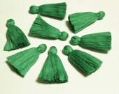 Green Tassels from India, Jewelry Making Supplies, Handmade Cotton Tassels, Ethnic Jewelry Boho Supplies (TS25)