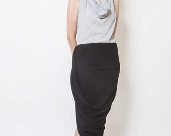 Black skirt, summer wear, high waist, draped down skirt, asymmetrical, fit modern style, minimal party skirt, side slit, mermaid skirt