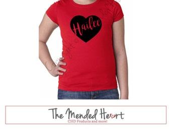 Heart with Custom Name Princess Cut Tee, CHD Awareness Shirt, Girls Valentine's Shirt, Heart Shirt, CHD Shirt, Girl Heart Shirt