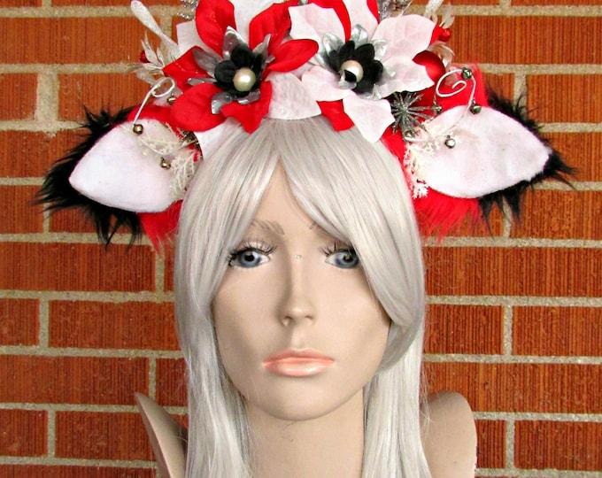 Holiday Headdress, Christmas Headband, Fox Ear Headband, Christmas Fox Headdress, Winter Headband, Cosplay, SantaCon, Holiday Party