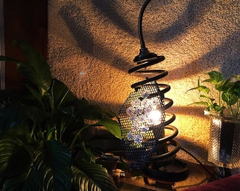 Industrial Suspension Coil Lamp w/ Mesh Shade, Steampunk Lamp, Modern Desk Lamp, Table Lamp, Lighting, Steampunk Furniture, Light Sculpture