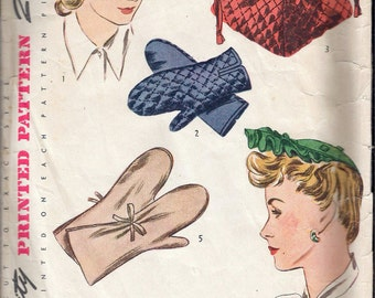 Vintage 1943 WWII Simplicity 4777 Women's Hat Bag & Mittens Sewing Pattern Size Medium