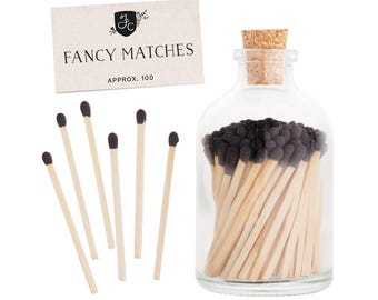 Charcoal Black Matchstick Jar™. Black Fancy Matches™. Colored matches. Stocking Stuffer. Gifts for her. Christmas gift. Hostess gift.