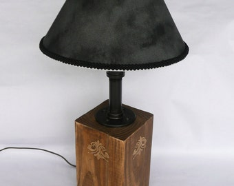 "Industrial desk lamp with black shade. 22"" Tall Industrial table lamp. Rustic farmhouse lamp. Pine cone stained dresser lamp."