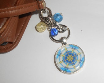 Colorful Mandala Purse Charm, Zipper Pull, Nautical Compass, Key Chain, Backpack Charm, Womens Accessories, Gifts for Her, Holiday Giftables
