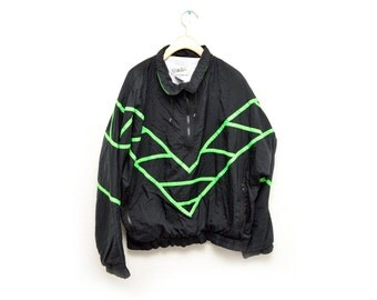 80s Black Neon Green Windbreaker Patterned Geometric Women's Large