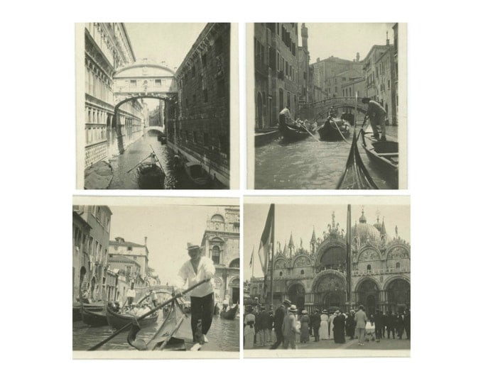 Venice, c1910s: Set of 4 Vintage Snapshot Photos (71543)