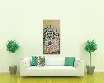Swirl Spiral Painting, Original Swirled Medallion Large Painting, Dreamy Bedroom Art